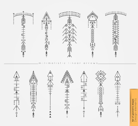 philosophy: Set of cute Geometric trendy hipster arrows. Religion, philosophy, spirituality, occultism symbols collection. isolated