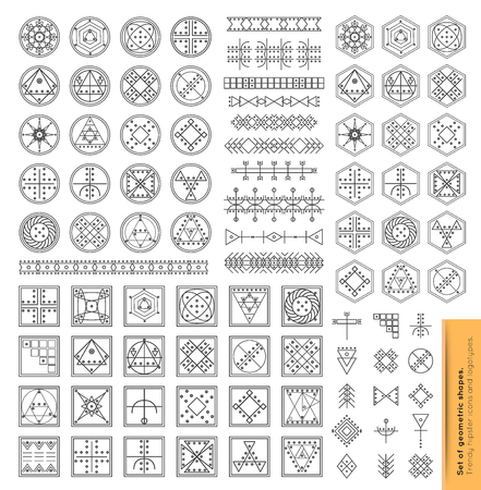 philosophy: Set of minimal geometric monochrome shapes. Trendy hipster icons and logotypes. Religion, philosophy, spirituality, occultism symbols collection. Business signs, labels, badges, frames and borders