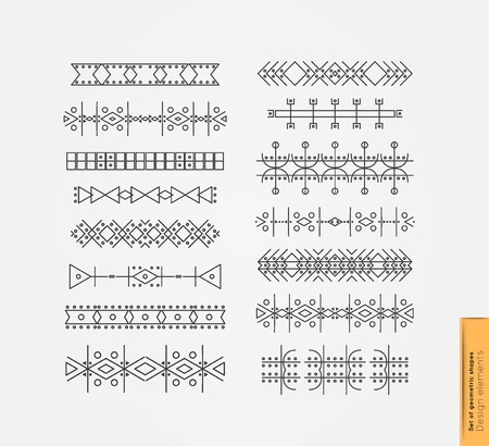 freemasonry: Big Set of linear thin line art deco retro hipster vintage design elements in geometric shape. Figured frame. linear thin delicate strips. Set of Hipster Borders and frames