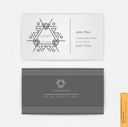 simple logo: Modern simple business card template, linear logo