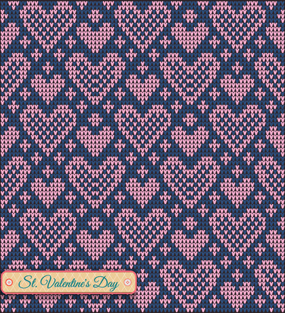 ridding: Classic knitted pattern with hearts. Valentines Day Banner, Knitting Pattern, Happy Valentines Day. Useful for Postcards Illustration