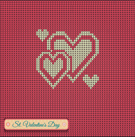 Classic knitted pattern with hearts. Valentines Day Banner, Knitting Pattern, Happy Valentines Day. Useful for Postcards Illustration