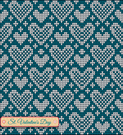 valentine's day banner: Classic knitted pattern with hearts. Valentines Day Banner, Knitting Pattern, Happy Valentines Day. Useful for Postcards Illustration