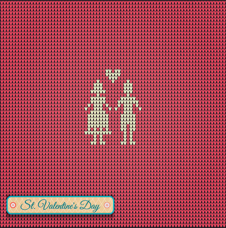 ridding: Classic knitted pattern with hearts.Valentines Day Banner, Knitting Pattern, Happy Valentines Day. Useful for Postcards Illustration