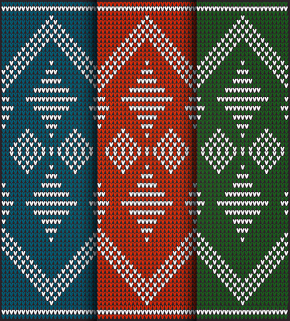 ridding: Set of Fair Pattern sweater design on the wool knitted texture. Red, Green and Blue Knitting Ornament