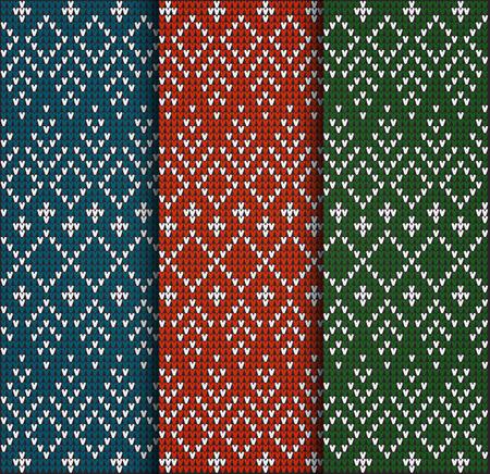 Set van Fair patroon trui ontwerp op de wol gebreide structuur. Rood, Groen en Blauw Knitting Ornament