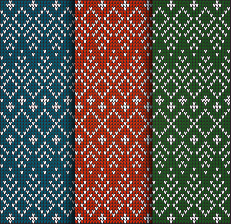 Set of Fair Pattern sweater design on the wool knitted texture. Red, Green and Blue Knitting Ornament