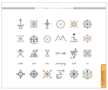 philosophy: Set of minimal geometric monochrome shapes. Business signs, labels, trendy hipster icons and logotypes. Religion, philosophy, spirituality, occultism symbols collection