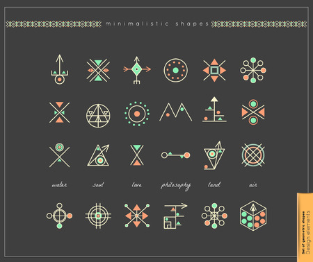 occultism: Set of minimal geometric monochrome shapes. Business signs, labels, trendy hipster icons and logotypes. Religion, philosophy, spirituality, occultism symbols collection
