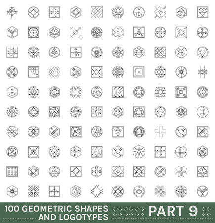 occultism: Big Set of 100 minimal geometric monochrome shapes. Business signs, labels, trendy hipster icons. Religion, philosophy, spirituality, occultism symbols collection