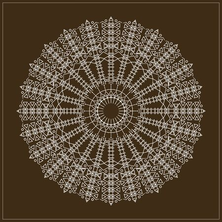 occultism: Trendy hipster circle, bright philosophical symbol, circular elements that are a religious, Aztec and African tattoo symbol. Philosophy, spirituality, occultism symbol, Trendy hipster circle.