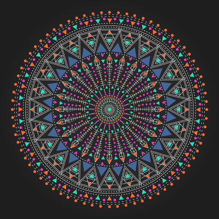 occultism: Trendy hipster colored circle, bright philosophical symbol, circular elements that are a religious, Aztec and African tattoo symbol. Philosophy, spirituality, occultism symbol, Trendy hipster circle. Illustration