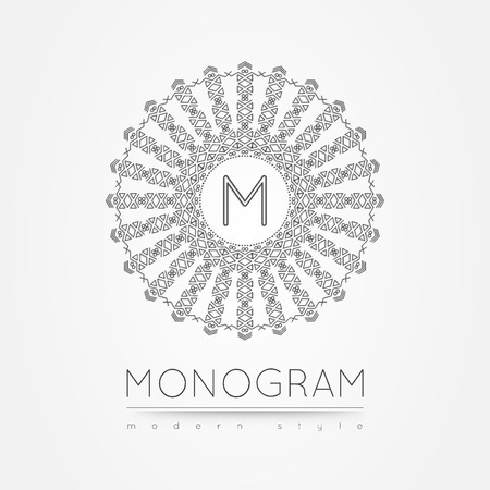m hotel: Elegant linear abstract monogram,  design template.