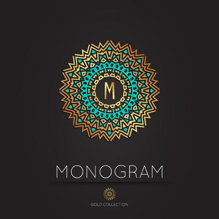 fashion art: Royal Elegant linear abstract monogram