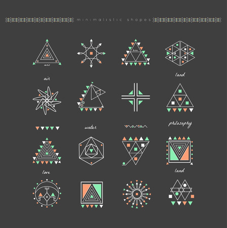 Sacred geometry. Set of minimal geometric shapes. Business signs, labels, trendy hipster linear icons and logotypes.