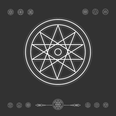 philosophy: Sacred geometry. Set of minimal geometric shapes. Religion, philosophy, spirituality, occultism symbols collection