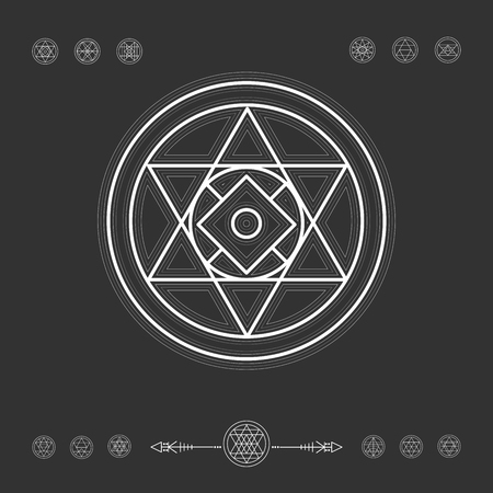 freemasonry: Sacred geometry. Set of minimal geometric shapes. Religion, philosophy, spirituality, occultism symbols collection