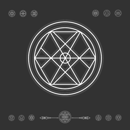 occultism: Sacred geometry. Set of minimal geometric shapes. Religion, philosophy, spirituality, occultism symbols collection