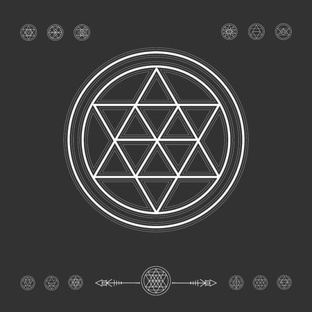 sacred geometry: Sacred geometry. Set of minimal geometric shapes. Religion, philosophy, spirituality, occultism symbols collection
