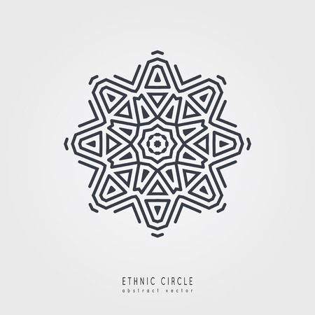 Ethnic mystical pattern with triangle and circles. Mandala Ethnic circle ornament.