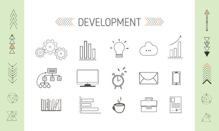 back link: SEO and development Icons, collection of shapes and arrows Illustration