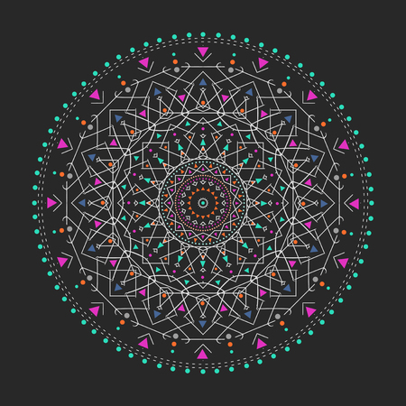 Trendy hipster colored circle, bright philosophical symbol, circular elements that are a religious Illustration
