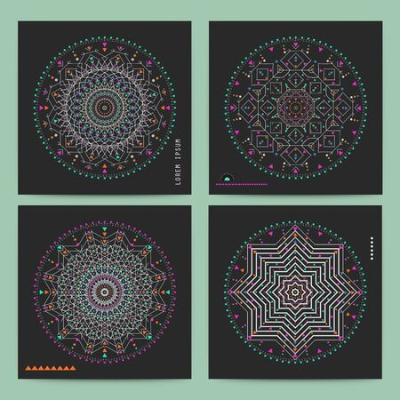 Trendy hipster colored circle, bright philosophical symbol, circular elements that are a religious, Aztec and African tattoo symbol. Illustration