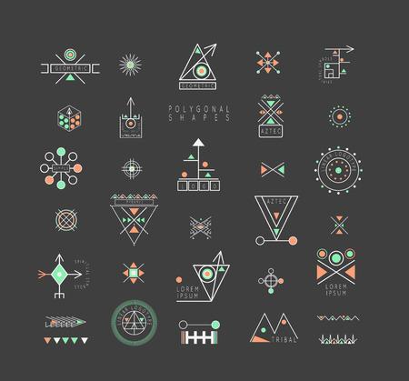 Geometría sagrada. Conjunto de formas geométricas mínimas. signos de visita, etiquetas, iconos de moda lineales inconformista y logotipos. Religión, filosofía, espiritualidad, símbolos de recogida ocultismo