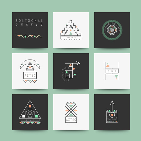 logotypes: Sacred geometry. Set of minimal geometric shapes. Business signs, labels, trendy hipster linear icons and logotypes.