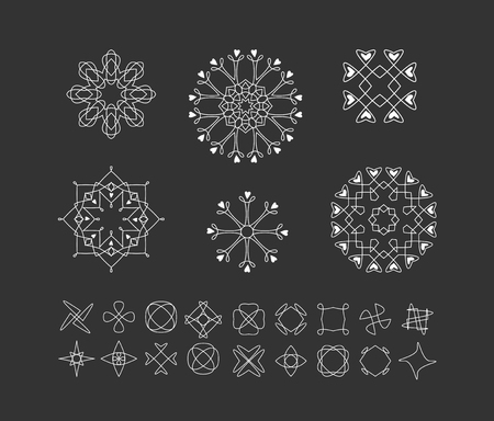 occultism: Sacred geometry. Set of minimal geometric shapes. Business signs, labels, trendy hipster linear icons . Religion, philosophy, spirituality, occultism symbols collection