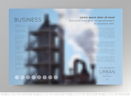 slide show: Abstract blurred vector backgrounds of factory building. Vector templates for presentation slides and business presentation, for flyers and booklets.
