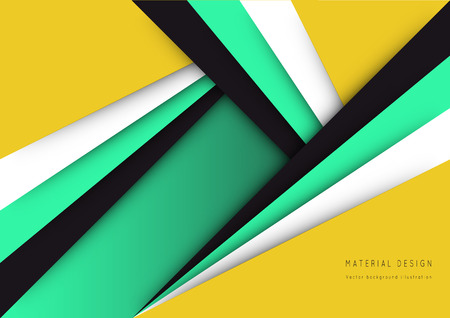 Illustration of unusual modern material design background. Modern template, abstract geometric composition in red, orange and green colors. Abstract Illustration. Illustration