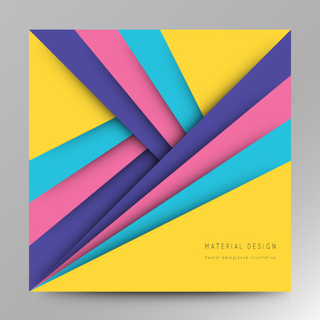 bussiness card: Illustration of unusual modern material design background. Modern template, abstract geometric composition in red, orange and green colors. Abstract Illustration. Illustration