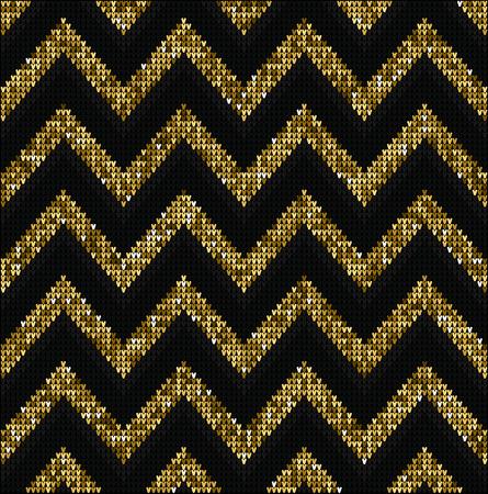 Or pailleté fond, juste conception Motif pull sur la laine tricotée texture. Knitting Ornement Vecteurs