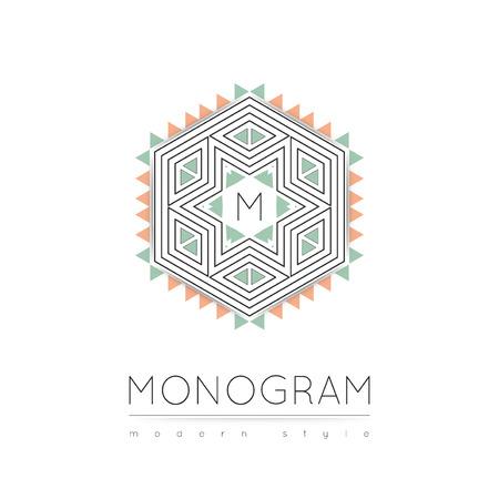 Elegant linear abstract monogram  design template. Vector illustration.