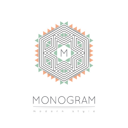 m hotel: Elegant linear abstract monogram  design template. Vector illustration.