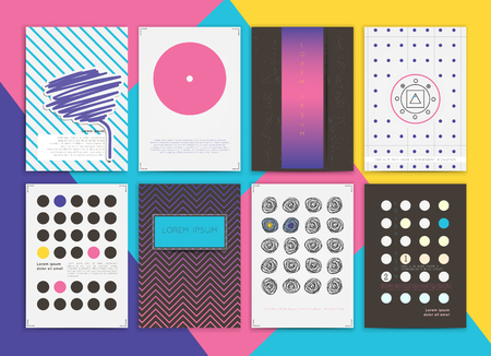 Cute Collection of Templates and modern creative cards. Hipster textures and shapes. Retro patterns for Posters, Flyers and Banner Designs.