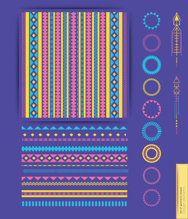 Big Set of geometric shapes. Trendy hipster icons. Tribal collection