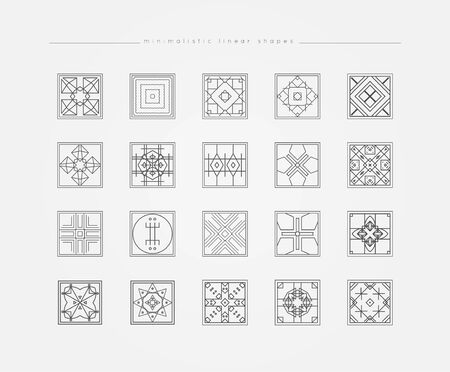 occultism: Sacred geometry. Set of minimal geometric shapes. Business signs, labels, trendy hipster linear icons. Religion, philosophy, spirituality, occultism symbols collection Illustration