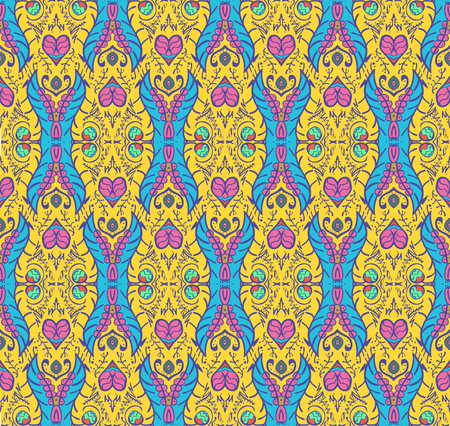 indian teenager: Bright seamless pattern in bright summer colors Illustration
