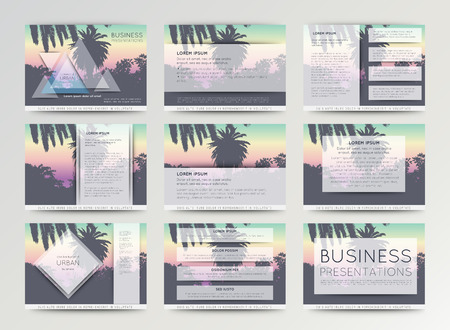 Palm tree poster and print , tropical background. Business template for brochure, flyer or booklet. Set of vector templates for presentation slides and power-point presentation.