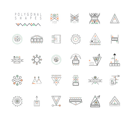 Sacred geometry. Set of minimal geometric shapes. Business signs, labels, trendy hipster linear icons. Religion, philosophy, spirituality, occultism symbols collection Ilustração