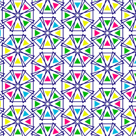 Retro pattern of geometric shapes. Colorful mosaic backdrop. Geometric hipster retro background, place your text on the top of it. Retro triangle background.