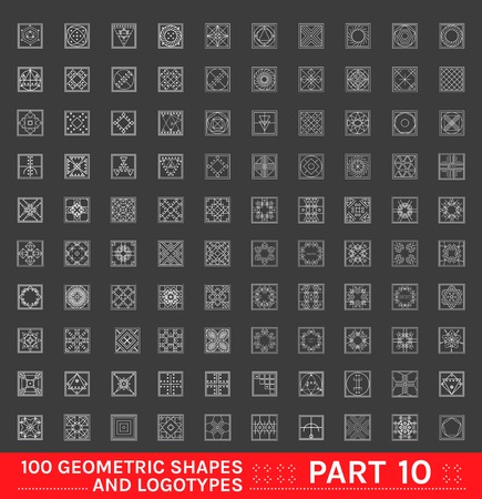 Big Set of 100 minimal geometric monochrome shapes. Business signs, labels, trendy hipster icons