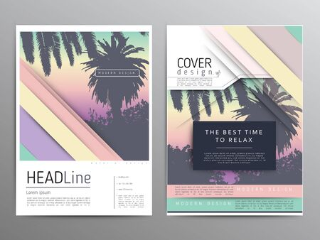 Palm tree poster and print , tropical background advert. Modern simple leaflet and flat graphic illustration. Ilustração