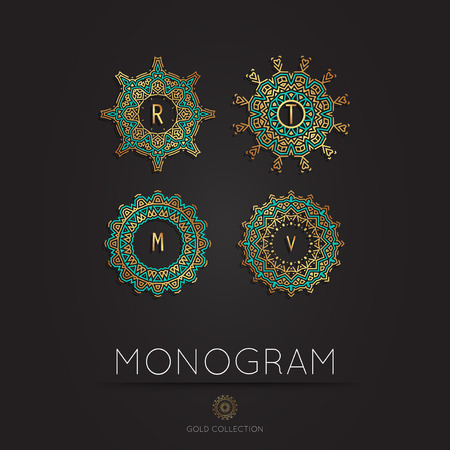 m hotel: Set of Royal Elegant linear abstract monogram, vector template. Hotel logo. Kings symbol.