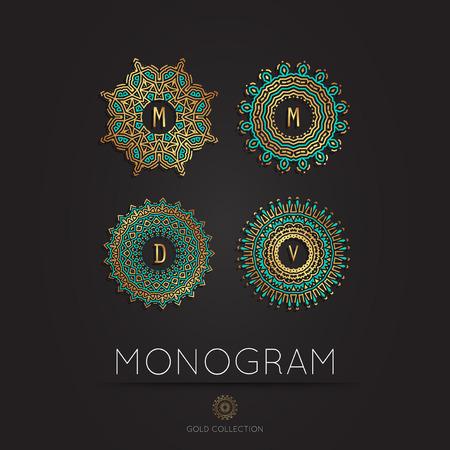 Set of Royal Elegant linear abstract monogram, vector template. Hotel logo. Kings symbol.