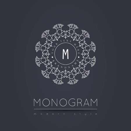 Elegant linear abstract monogram, logo design template. Vector illustration. Illustration
