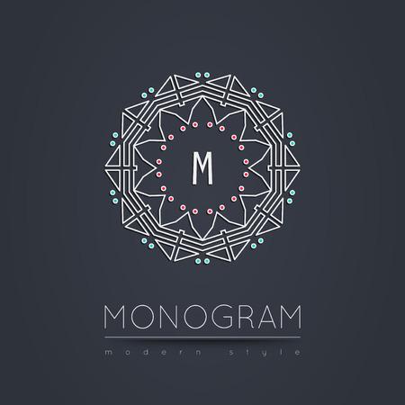 Elegant linear abstract monogram, logo design template. Vector illustration. Ilustração