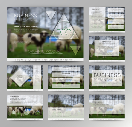Vector blurred landscape with sheep, eco badge, ecology label, nature view with rams.Green, organic product. Eco products, organic standard, or premium quality green product, Business presentation Illustration
